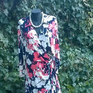 NWT Liz Claiborne 18 Floral Faux Wrap V-Neck Dress